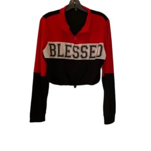 Feathers Blessed crop top xl